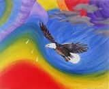 Colorful abstract eagle fly twister