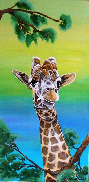 Original Big eyed Giraffe/Orig.$450 - Sharon Slater