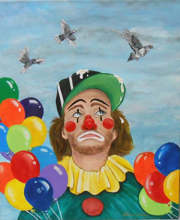 Clown Bombed BY Pigeons/Orig'l $295 - Sharon Slater