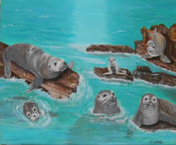 Sea Lions Gather/ Original $175. - Sharon Slater
