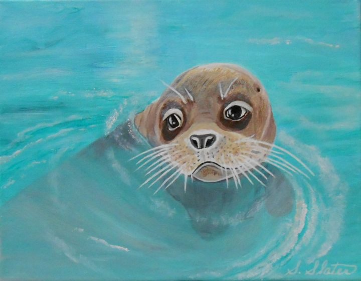Baby Sea Lion-Original $100.00 - Sharon Slater