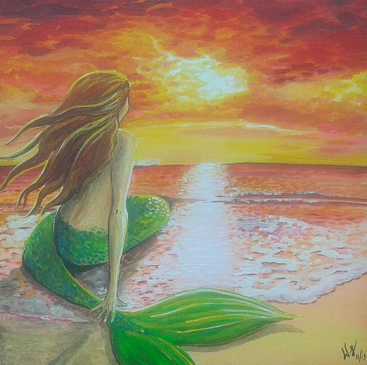 Mermaid at Sunset on the Shore - Wendy Crouch
