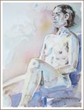Nude female  seated