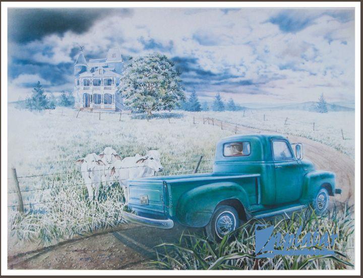 Victorian home, Brahmas &50's pickup - Zaplatar Art