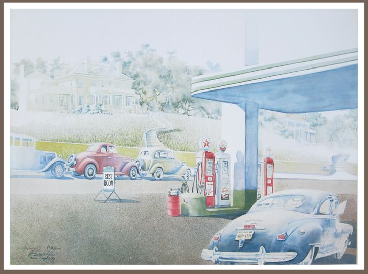 Nostalgic Texaco gas station - Zaplatar Art