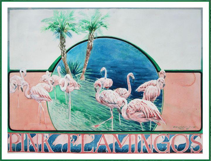 Pink Flamingos Original Poster - Zaplatar Art