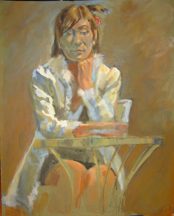 woman with drink at table - Zaplatar Art
