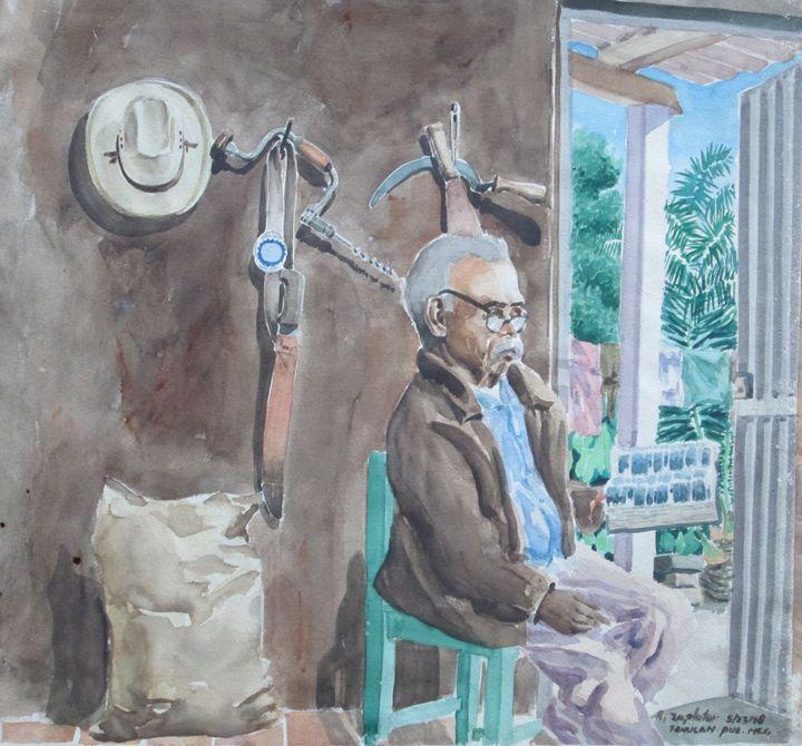 Mexican Man reading Bible - Zaplatar Art