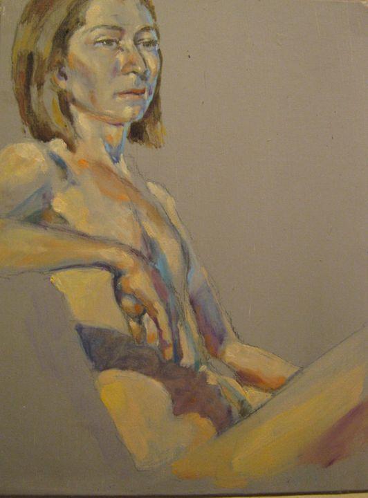 Yelenna nude seated - Zaplatar Art