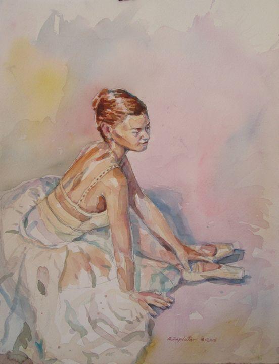 Ballet Dancer seated in Chiffon - Zaplatar Art