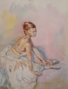Ballet Dancer seated in Chiffon