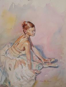 Ballet Dancer seated in Chiffon
