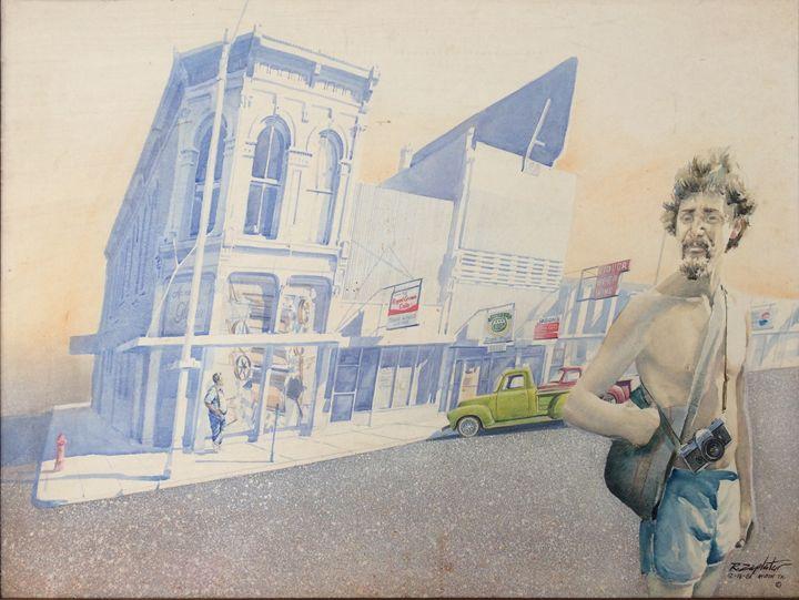 selfie in front of buildings - Zaplatar Art