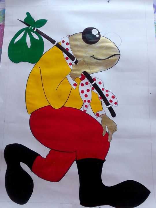 smart frog going to work... - fine arts...