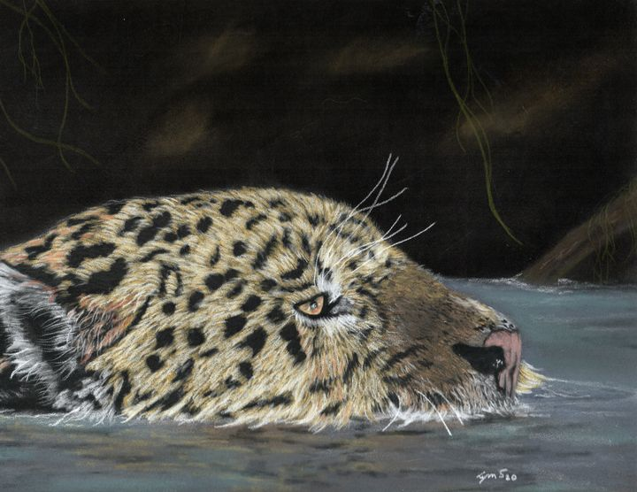 Leopard Swimming;  Original Piece - DREAMZ-ART