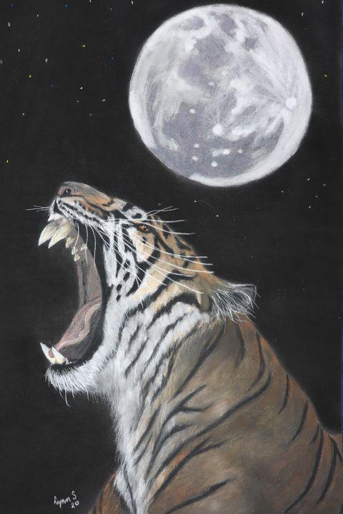 TIGER MOON, wildlife original art. - DREAMZ-ART