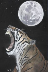 TIGER MOON, wildlife original art.
