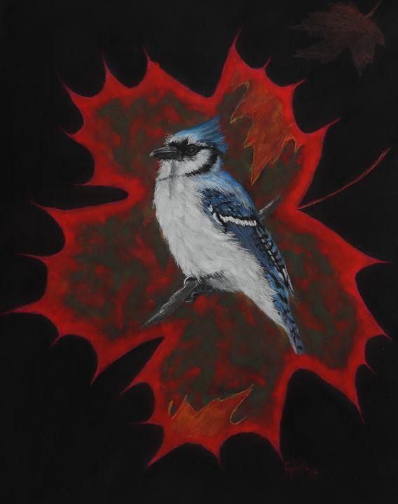 PURELY CANADIAN; BLUE JAY fine art. - DREAMZ-ART