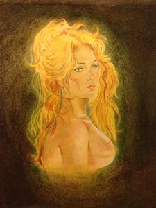 Nostalgic nude woman