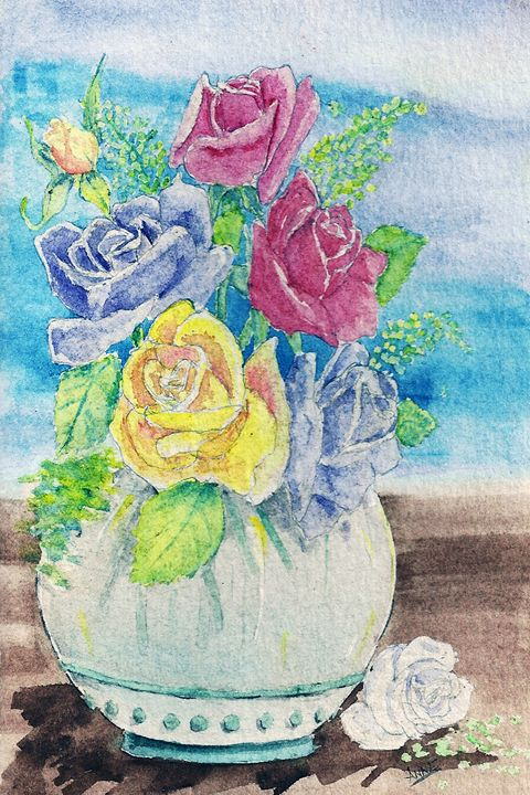Pot of Roses - Anne's ARTS