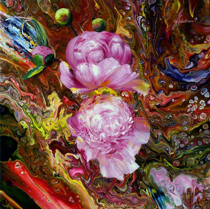 FLOWER FLUIDITY 3 - PAINTINGS  by  NELU  GRADEANU