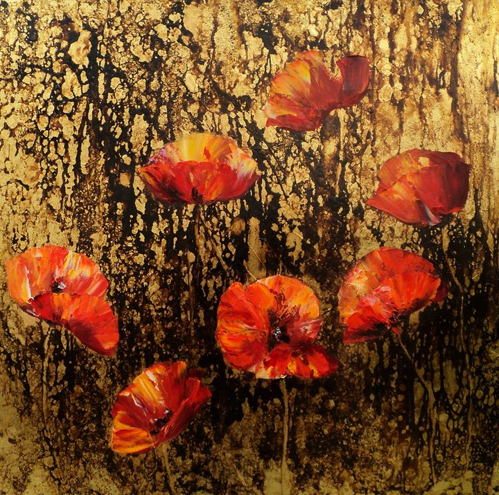 POPPIES IN GOLD - PAINTINGS  by  NELU  GRADEANU