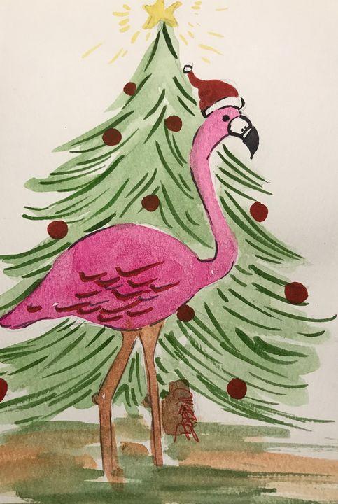 Christmas Flamingo - BobbinsArtWork