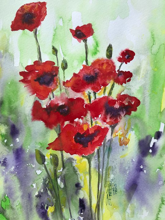 Red Poppies - BobbinsArtWork