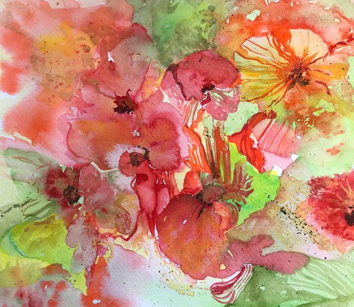 Orange Abstract Poppies - BobbinsArtWork