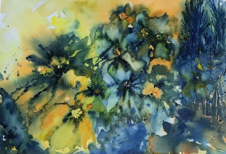 Blue Daisies - BobbinsArtWork