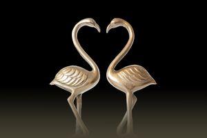 Two Golden Flamingos