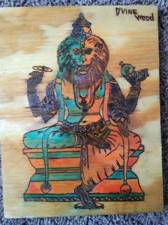Narasimha Pyrography Custom Colors - DVine Wood Creations