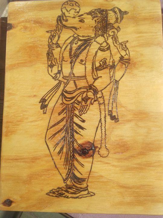 Varaha Avatar Pyrography - DVine Wood Creations