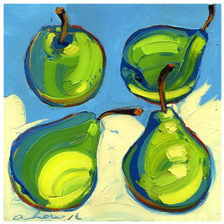 Special Four Pears 10x10 Modern Art - Hearts of Life