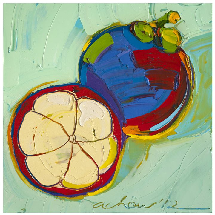 Mangosteen of Two 10x10 Modern art - Hearts of Life