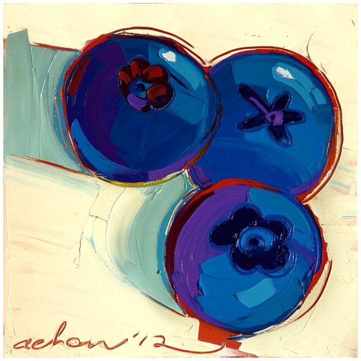 Three Blues 10x10 Modern Art - Hearts of Life