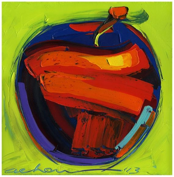 Blazing Red Apple 10x10 modern art - Hearts of Life