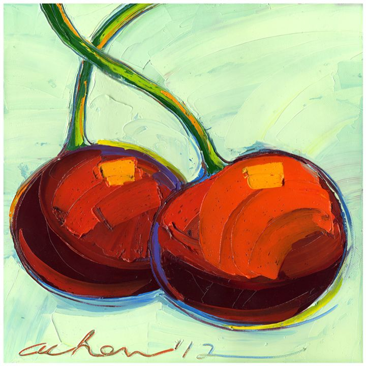 Brilliant Cherries 10x10 Modern Art - Hearts of Life