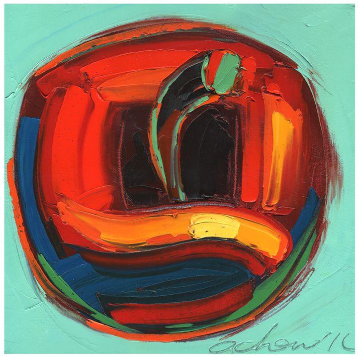 Golden Apple 10x10 Modern Art - Hearts of Life
