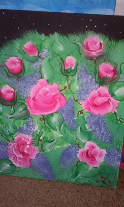 Rose bush at night - Wizard of Art