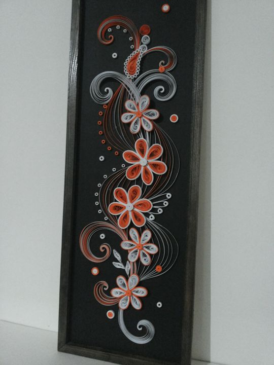 orange and white flowers - quilling