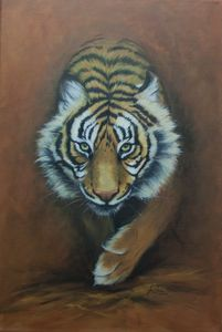 Tiger Oil Painting, Burning Bright