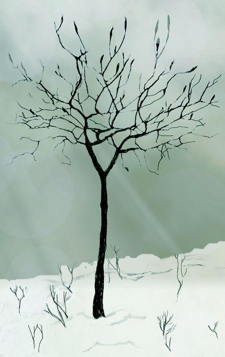 Naked tree in snow - Vladimir Markovsky