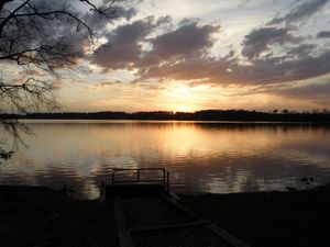 Sunset overlook at lake