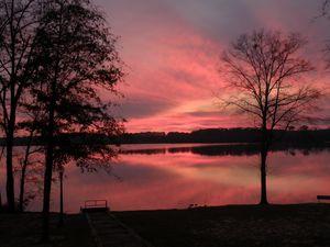 Red sunset at lake