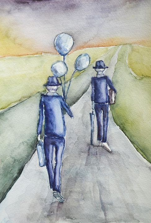 """You're Never Old,  Watercolor, 9x12"""" - Artmiki"""