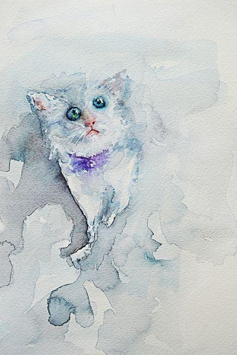 "Kitty, 12x9"", Original Watercolor - Artmiki"