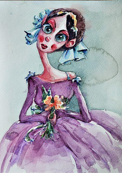 Girl with Flowers - Artmiki