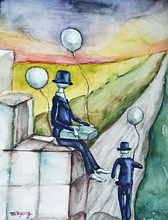 "Waiting, Watercolor, 12x9"" - Artmiki"