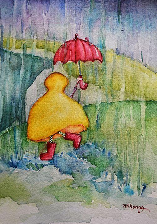 Rainy Day, Watercolor, 12x9 - Artmiki